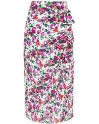 Saloni Kelly Bow-embellished Printed Silk Crepe De Chine Midi Skirt White