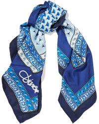 Diane von Furstenberg Printed Silk-twill Scarf Blue