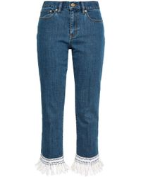 Tory Burch - Woman Crochet-trimmed High-rise Straight-leg Jeans Mid Denim - Lyst