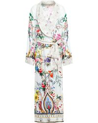 Camilla Crystal-embellished Printed Silk-jacquard Kimono Ivory - White