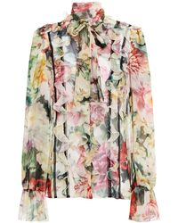 Dolce & Gabbana Pussy-bow Lace-trimmed Ruffled Floral-print Silk-blend Chiffon Blouse - Multicolour