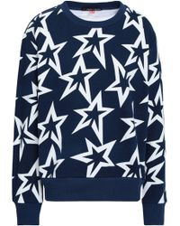 Perfect Moment - Woman Printed French Cotton-terry Sweatshirt Navy - Lyst