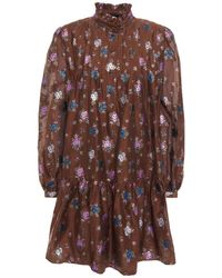 Paul & Joe Ruffle-trimmed Metallic Floral-jacquard Mini Dress - Brown