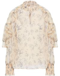 Maje Ruffled Floral-print Crepon Blouse Neutral - Multicolour
