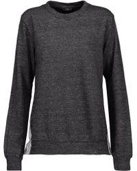 CLU | Wrap-effect Striped Cotton-blend Poplin-paneled Cotton-blend Terry Sweatshirt | Lyst