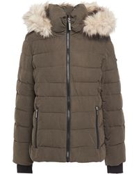 DKNY Quilted Faux Fur-trim Hooded Coat - Green