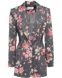 Zimmermann Floral-print Wool-blend Twill Blazer Dark Gray