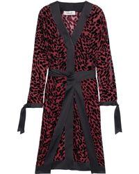 Diane von Furstenberg Pianna Tie-front Satin-trimmed Flocked Chiffon Dress - Black