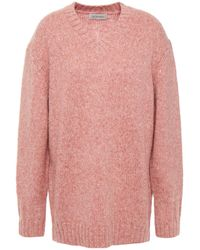 Lee Mathews Mélange Wool-blend Sweater - Pink