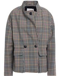 Ba&sh Beth Double-breasted Prince Of Wales Checked Cotton-blend Jacket - Black