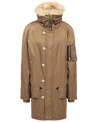Marc Jacobs Faux Fur-trimmed Shell Coat Light Brown - Green