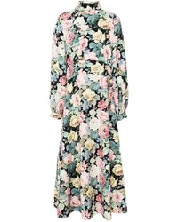 Vivetta Floral-print Stretch-crepe Midi Dress - Black