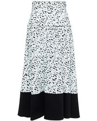 Proenza Schouler - Twill-paneled Printed Crepe Midi Skirt Sky Blue - Lyst