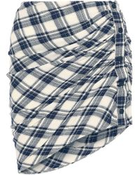 Veronica Beard Murphy Gathered Checked Jacquard Mini Skirt Navy - Blue