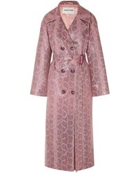 Stand Studio Faux Python-effect Leather Trench Coat Baby Pink