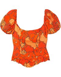 De La Vali Koko Ruffled Floral-print Satin Top - Orange