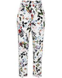 Erdem Giulia Cropped Floral-print Silk Crepe De Chine Slim-leg Trousers - White