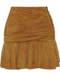 Veronica Beard Weston Gathered Suede Mini Skirt Camel - Multicolour