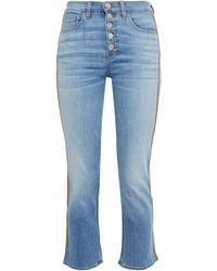 Veronica Beard Carolyn Grosgrain-trimmed High-rise Bootcut Jeans - Blue