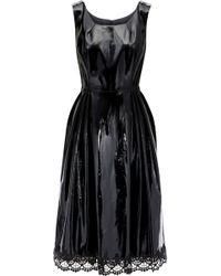 Anna Sui Lace-trimmed Pleated Vinyl Dress Black