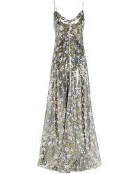 Ganni Cutout Floral-print Silk-blend Lamé Maxi Slip Dress - Multicolour