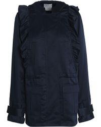 Joie - Ramius Ruffle-trimmed Satin-twill Hooded Jacket - Lyst