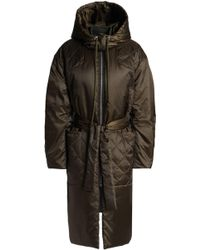 House of Dagmar Quilted Shell Hooded Coat - Green