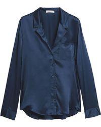 Anine Bing Silk-satin Pyjama Top - Blue