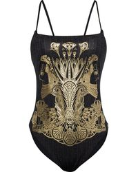 Camilla Metallic Printed Swimsuit - Black