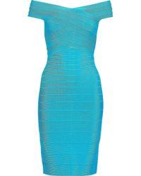 Hervé Léger Hervé Léger Off-the-shoulder Bandage Dress Turquoise - Blue