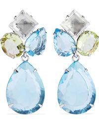Bounkit - Woman Convertible Silver-tone Quartz Earrings Sky Blue - Lyst