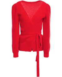 ALEXACHUNG Mohair-blend Wrap Cardigan Tomato Red