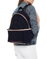 Kate Spade Leather-trimmed Jacquard-knit Backpack Midnight Blue