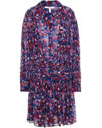 10 Crosby Derek Lam Pleated Floral-print Georgette Mini Dress - Blue