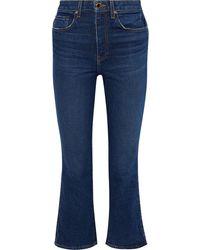 Khaite Benny Mid-rise Kick-flare Jeans Dark Denim - Blue