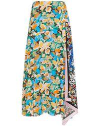 M Missoni Asymmetric Floral-print Silk-twill And Crepe Midi Skirt Pastel Pink
