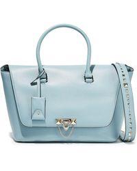 Valentino Demilune Studded Leather Shoulder Bag Sky Blue