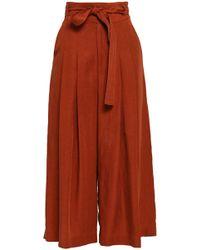 Marissa Webb - Landyn Belted And Linen-blend Wide-leg Trousers - Lyst