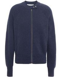 Cotton by Autumn Cashmere Panelled Mélange Cotton Cardigan - Blue