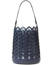 Kate Spade Dorie Medium Laser-cut Leather Bucket Bag Navy - Blue
