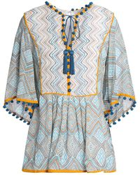 Talitha Tasselled Printed Silk-georgette Peplum Top White