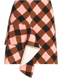 Marni - Ruffled Gingham Neoprene Mini Skirt - Lyst