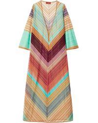 Missoni Striped Metallic Crochet-knit Kaftan - Multicolour
