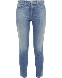 Current/Elliott - The Caballo Cropped Faded Mid-rise Skinny Jeans Mid Denim - Lyst