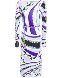 Emilio Pucci Belted Printed Stretch-jersey Midi Dress Purple