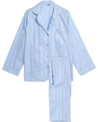 Bodas - Woman Striped Cotton Pyjama Set Light Blue - Lyst