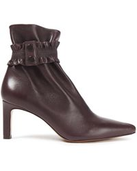 Zimmermann Shirred Leather Ankle Boots Merlot - Brown