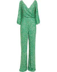 Jenny Packham Draped Embellished Sequined Georgette Jumpsuit - Green