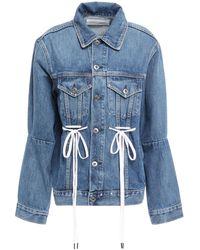 PROENZA SCHOULER WHITE LABEL Bow-embellished Denim Jacket Mid Denim - Blue