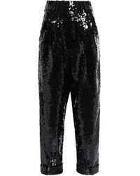 Balmain Hose mit geradem bein aus tüll mit pailletten - Schwarz